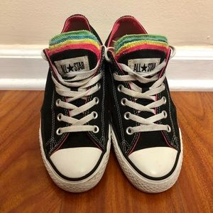 Unisex Neon Multi-Tongue Converse Sneakers